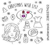 christmas wish list. girl...   Shutterstock . vector #238337422