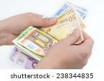 close up of hands counting euro ... | Shutterstock . vector #238344835