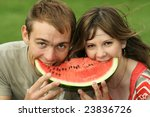close up young couple with ... | Shutterstock . vector #23836726