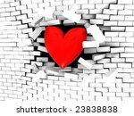 3d illustration of stylized heart breaking white brick wall - stock photo