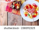 Plate And Basket With Colorful...