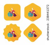 pumpkin and broom flat icon... | Shutterstock .eps vector #238441372