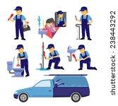 plumber worker set | Shutterstock .eps vector #238443292