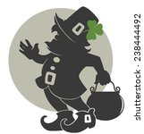 cute leprechaun silhouette for... | Shutterstock .eps vector #238444492