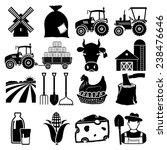 farm icon vector black on white