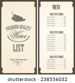 wine list with a bunch of grapes | Shutterstock .eps vector #238556032