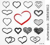 set of sixteen abstract sketch... | Shutterstock . vector #238565812