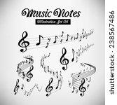 wavy music staves. vector set... | Shutterstock .eps vector #238567486