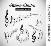 wavy music staves. vector set... | Shutterstock .eps vector #238567492