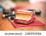 red ink box and rubber stamp on ...