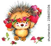 valentines day. cute hedgehog... | Shutterstock . vector #238605106