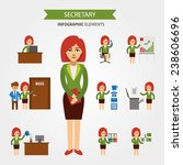 secretary at work infographic... | Shutterstock .eps vector #238606696