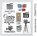 set of movie and cinema related ... | Shutterstock .eps vector #238607512