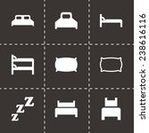vector bed icon set on black... | Shutterstock .eps vector #238616116