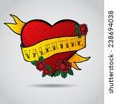carton vector heart emblem in ... | Shutterstock .eps vector #238694038