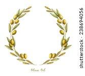 watercolor olive branch wreath. ... | Shutterstock .eps vector #238694056