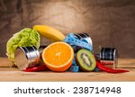 fitness equipment and healthy... | Shutterstock . vector #238714948