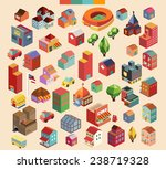 colorful vector isometric city... | Shutterstock .eps vector #238719328