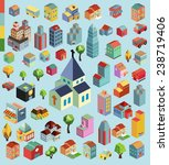colorful vector isometric city... | Shutterstock .eps vector #238719406