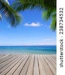 beautiful beach and tropical sea | Shutterstock . vector #238734532