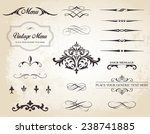 Stock vector this image is a vector set that contains calligraphic elements borders page dividers page 238741885