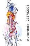 watercolor girl | Shutterstock .eps vector #238782076