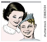 vintage 1950s girl and boy ... | Shutterstock .eps vector #23882434