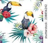 toucan  hibiscus  pattern | Shutterstock .eps vector #238856242