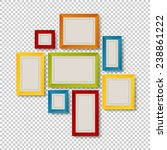 Group of Colorful Frames on Transparent Background