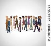 people walking in line  ... | Shutterstock .eps vector #238870798