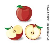 red apple vector illustration 3 | Shutterstock .eps vector #238914988