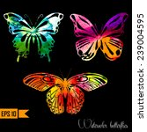 watercolor set with butterflies.... | Shutterstock .eps vector #239004595