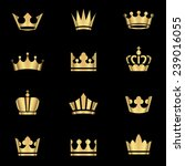 gold crowns set   set of gold... | Shutterstock .eps vector #239016055