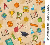 seamless pattern back to school ... | Shutterstock .eps vector #239021302