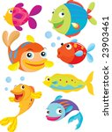 seven fish swimming and blowing ... | Shutterstock . vector #23903461