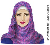 muslim girl dressed in colored... | Shutterstock .eps vector #239093596