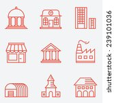 Set Of House Icons  Thin Line...