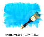 brush with blue paint and blue... | Shutterstock . vector #23910163