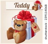 Teddy bear and the big gift box with red bow . Cartoon vector illustration.