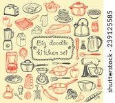 hand drawn doodle kitchen set | Shutterstock .eps vector #239125585