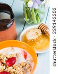 morning with healthy breakfast... | Shutterstock . vector #239142202