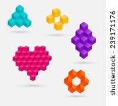 3d cube elements. vector...