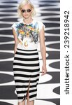 Small photo of New York, NY - September 5, 2014: Valeria Dmitrienko walks the runway at Nicole Miller show during Mercedes-Benz Fashion Week Spring 2015 at The Salon at Lincoln Center