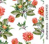 dahlia bouquet watercolor   Shutterstock . vector #239219935