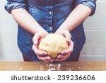 Woman Kneading  Baking Cookies...