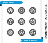 Wheel Icons Set.