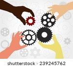 teamwork. hand silhouettes... | Shutterstock .eps vector #239245762