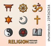 world religion hand drawn... | Shutterstock .eps vector #239262616