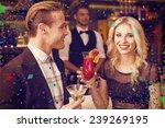 attractive friends drinking... | Shutterstock . vector #239269195