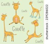Vector Set With Cute Giraffes